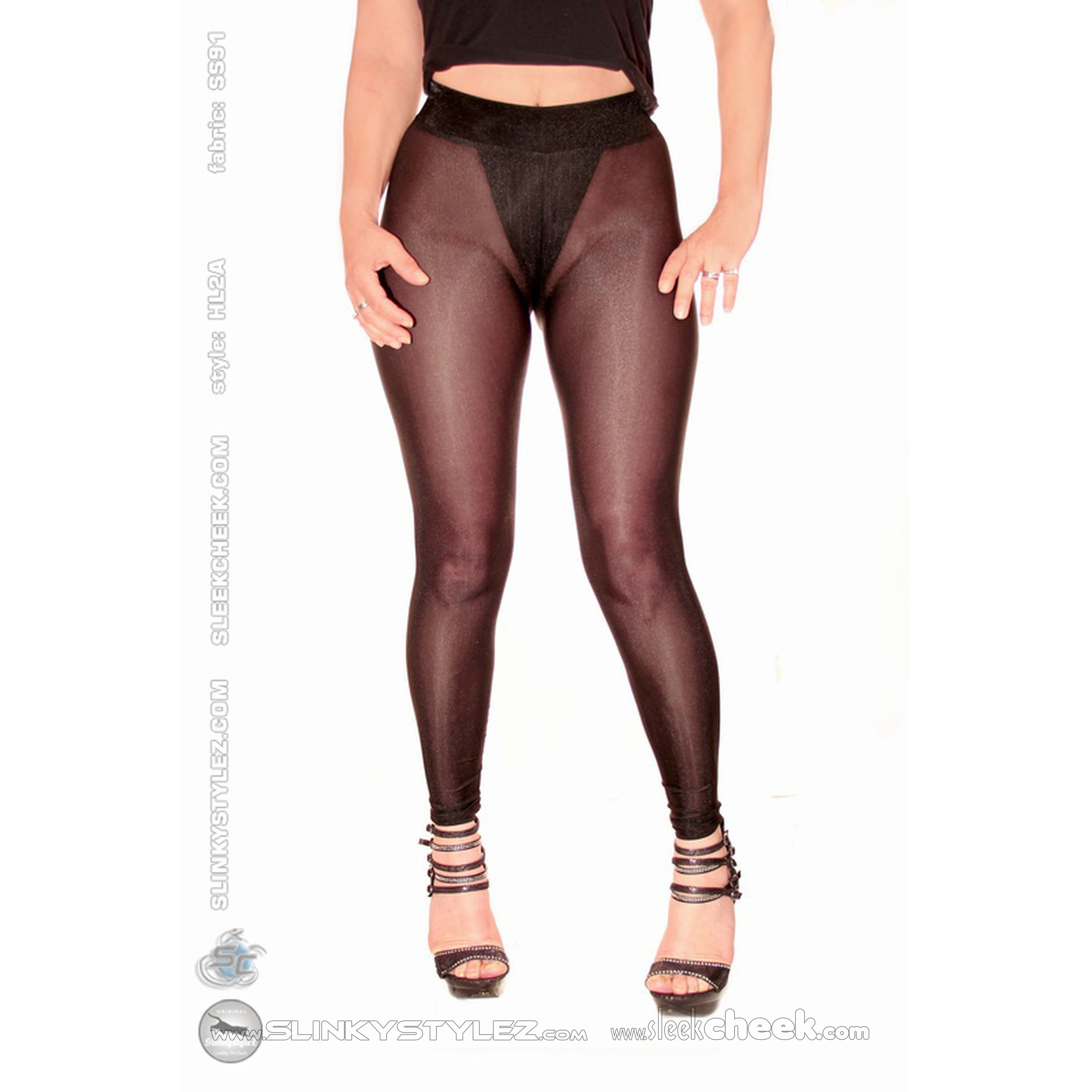 SLEEKCHEEK Classic Leggings HL2A - SheerSpandex 91 BLACK - CUSTOM (L23D)